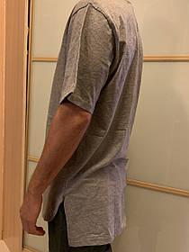 Удлиненная Серая  гетто swag футболка с закругленным низом оверсайз oversize Kenny West