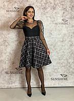 Женское платье из фактурной плетенной ткани с пайеткой  Poliit 8685