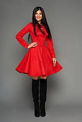 Платье красное нарядное женское, р. 42-44, эко-замша, приталенное, праздничное, молодёжное