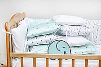 """Бортики-защита в кроватку из сатина от комплекта """"Верона"""" Ёлочки ТМ Добрый Сон"""