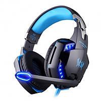 Наушники геймерские игровые с подсветкой гарнитура Kotion Each G2000 Blue (Синие)