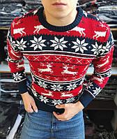 Мужской свитер с оленями без воротника красный с синим Турция теплый. Живое фото. Есть другие цвета