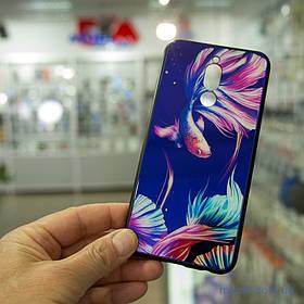 Накладка TPU + Glass светящийся в темноте Xiaomi Redmi 8 рыбка/фиолетовый