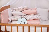 """Бортики-защита в кроватку из сатина от комплекта """"Верона - 2""""  Фламинго ТМ Добрый Сон"""