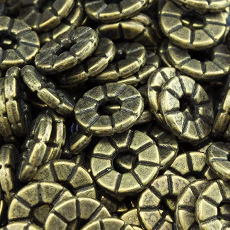 Бусина разделитель металлическая шайба Солнце бронза 8х1,5 мм