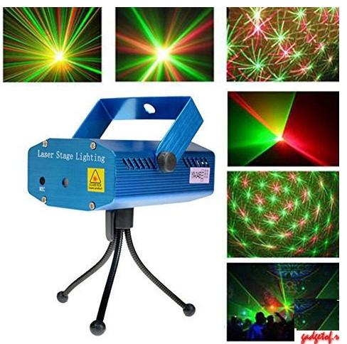Лазер диско проектор XL-4A-D червоний+зелений (зоряне небо, сердечка, зірочки)
