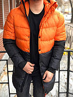 Зимняя мужская куртка парка с капюшоном оранжевая с черным теплая Турция. Живое фото