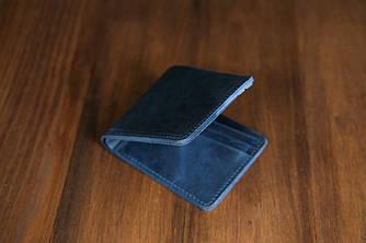 Портмоне классика на 6 карт  Винтажная кожа цвет синий