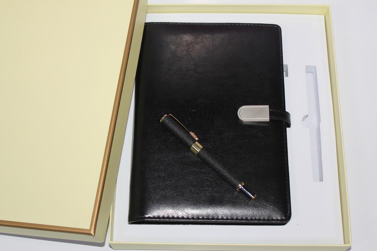 Набор подарочный блокнот с POWER BANK с беспроводной и проводной зарядкой черный