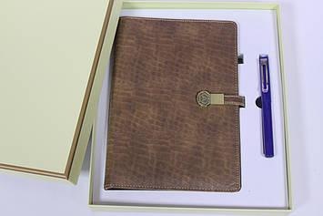 Подарочный набор блокнот органайзер со встроенным POWER BANK 16GB флешка, проводная зарядка