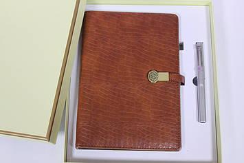 Подарочный набор блокнот ежедневник коричневый со встроенным POWER BANK 16GB флешка,проводная зарядка
