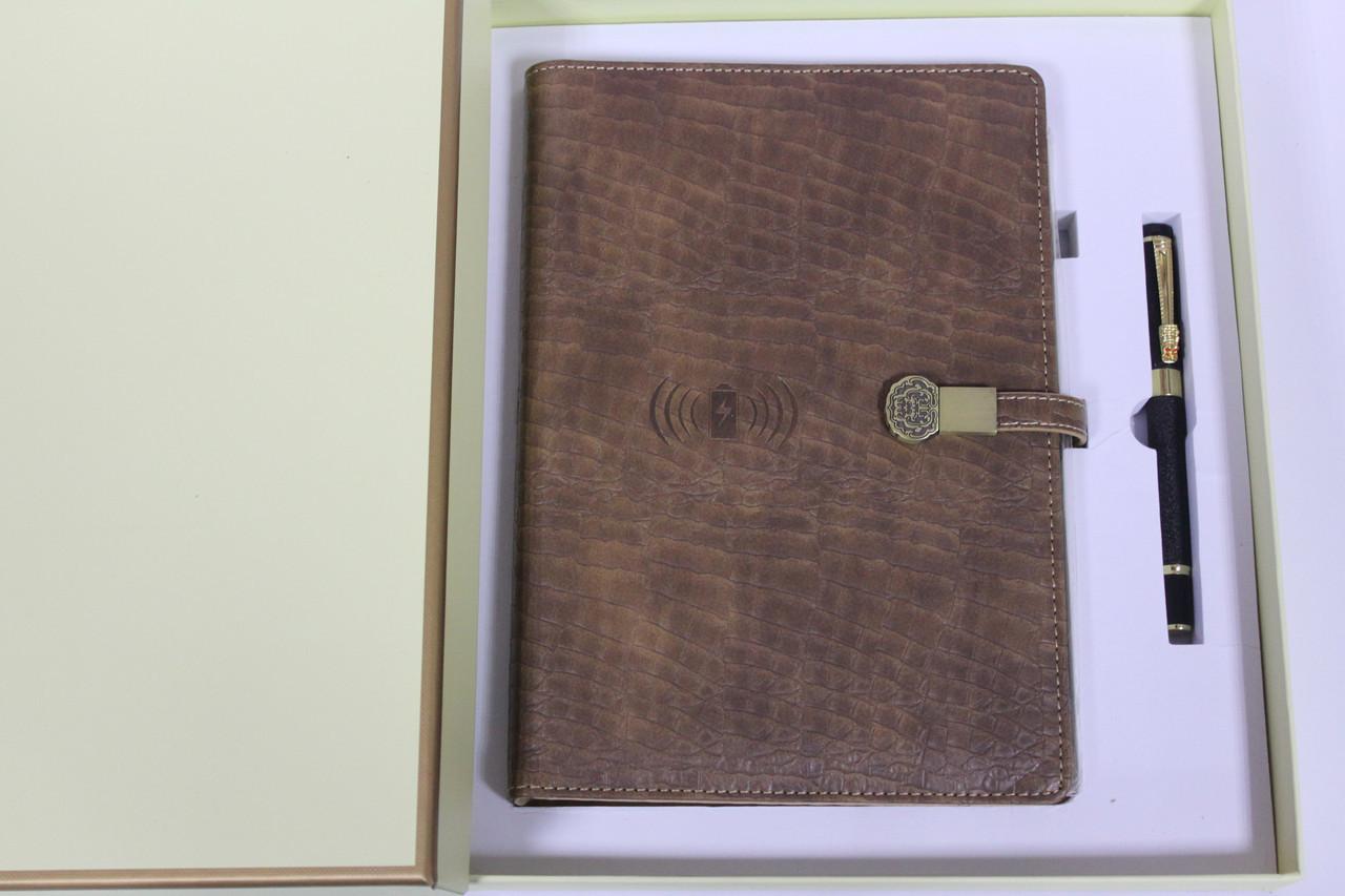 Подарочный набор ежедневник со встроенным POWER BANK 16 GB флешка, беспроводная зарядка Amazing