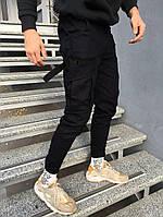 Мужские зимние спортивные штаны карго спортивки черные теплые. Живое фото. Реплика, фото 1