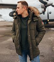 Зимняя мужская куртка с капюшоном мех теплая хаки Canada Турция. Живое фото. Есть 4 цвета, фото 1
