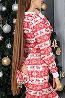 Женская пижама с карманом на попе красная с белым новогодняя. Идеальный подарок