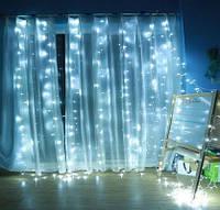"""Гирлянда-штора электрическая на 280 Led больших матовых светодиодов """"Водопад"""" белая 3*2 м"""