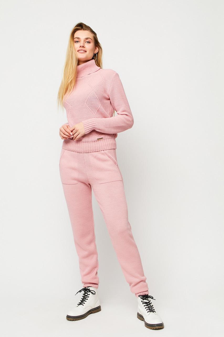 Розовый вязаный женский брючный костюм