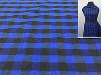 Ткань байка с небольшим начесом синего цвета, фото 1