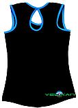 Топ майка VK с окантовкой 40р. хлопок-90% лайкра 10%  черный + голубой, фото 2