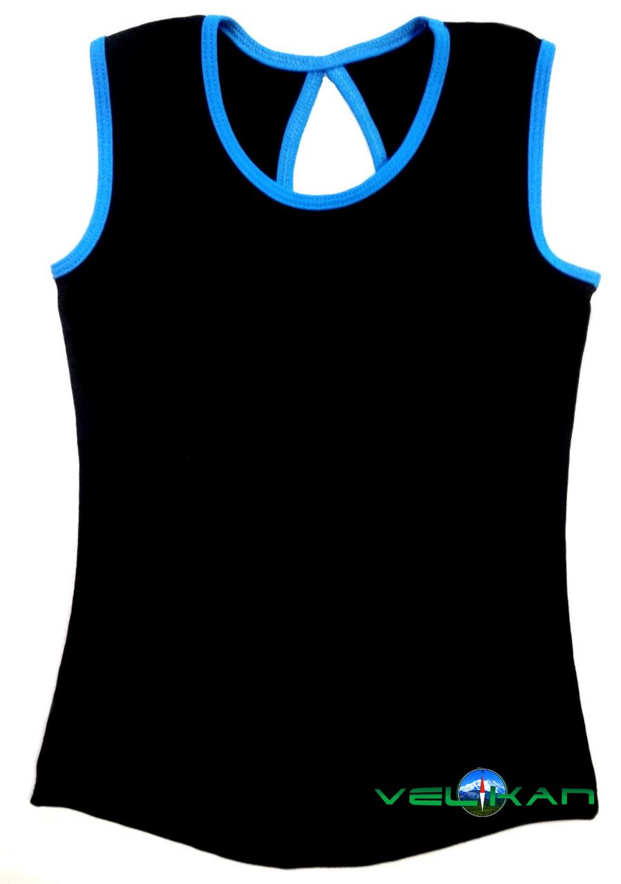 Топ майка VK с окантовкой 40р. хлопок-90% лайкра 10%  черный + голубой
