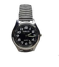 Часы мужские кварцевые YаWeiSi на браслете резинка черный