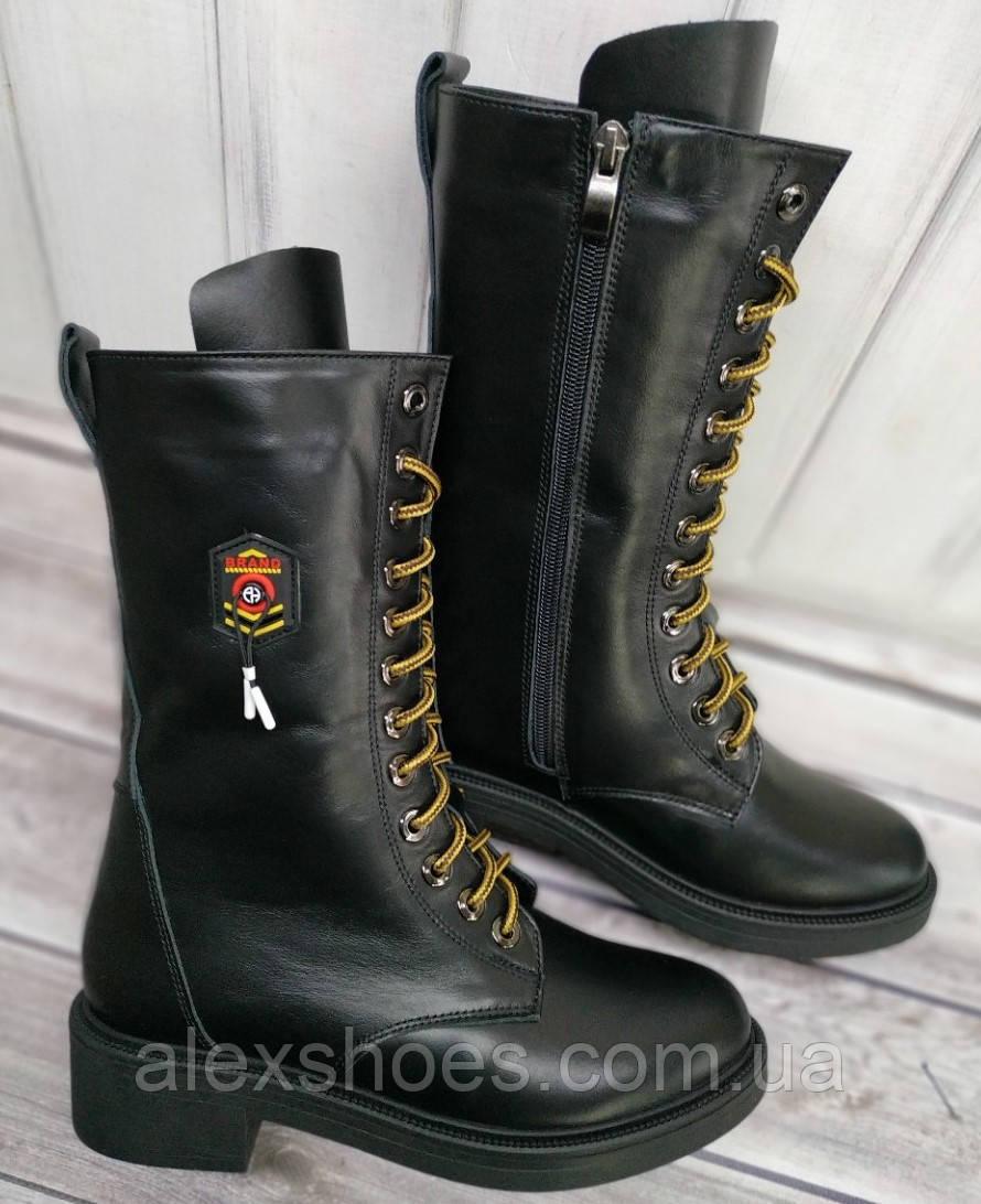 Берцы женские на низком каблуке из натуральной кожи от производителя модель НИ-Ф5-2
