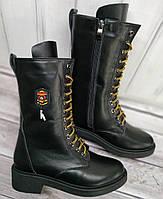 Берцы женские на низком каблуке из натуральной кожи от производителя модель НИ-Ф5-2, фото 1