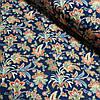 Фланель (байка) с цветочными ветками на тёмно-синем, ширина 150 см