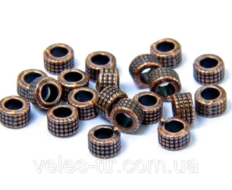 Бусина разделитель металлическая Цилиндр плоский медь 5х3 мм