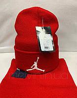Комплект шарф + шапка в стиле Air Jordan Красный