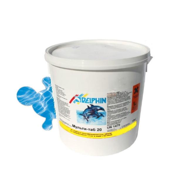 Дезинфекция воды в бассейне 3 в 1 Мульти-таб (20г) 5кг Delphin