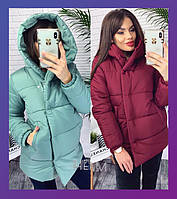 Женская зимняя теплая куртка на синтепоне черный марсала оливка 42 44 46 48 50