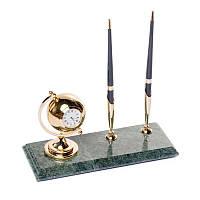 Подставка настольная BST 540041 24х10 с часами для ручек мраморная