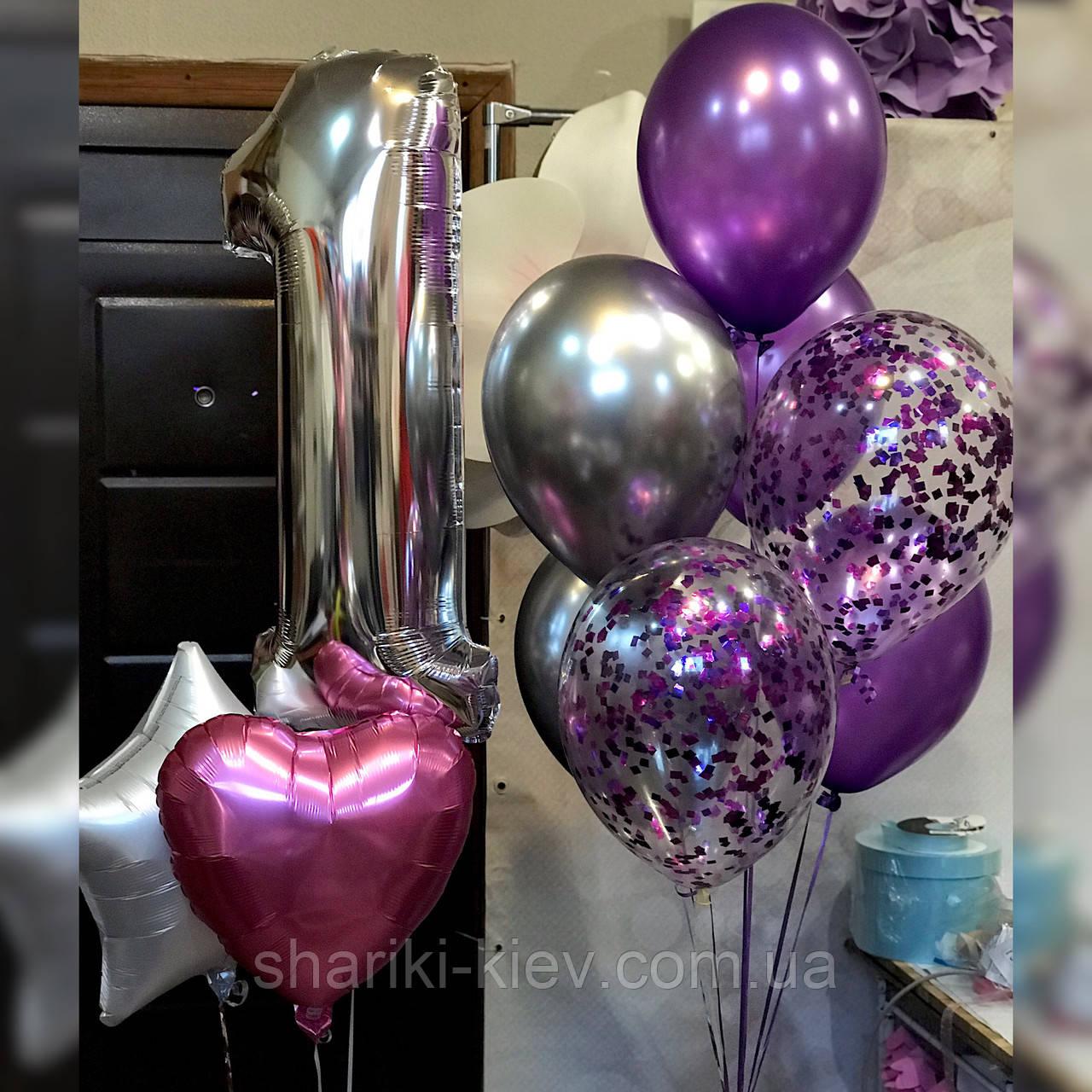 Набор из 9-ти шаров с цифрой на День Рождения