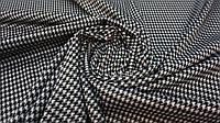 Трикотажная чёрная ткань джерси гусиная лапка, фото 1