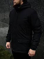Парка мужская демисезонная до 0* С + БАФ в подарок / куртка удлиненная осенне-весенняя Waterproof Х black