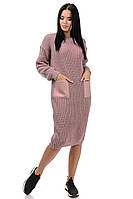 Вязаное платье Карман 42-48 пудра, фото 1