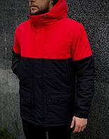 Парка мужская демисезонная до 0* С + БАФ в подарок / куртка удлиненная осенне-весенняя Waterproof Х black-red