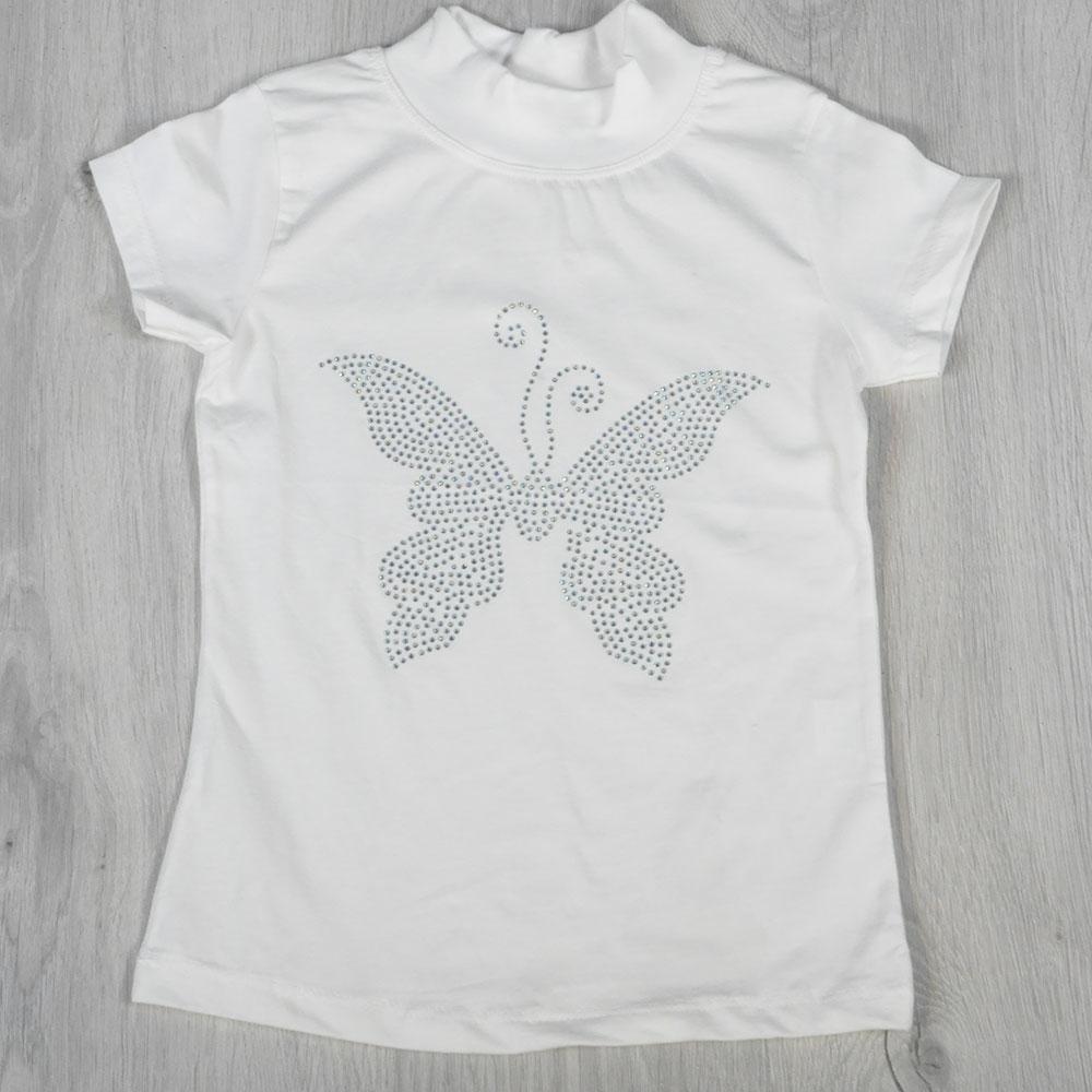 Детская футболка-американка, со стразами, для девочек 6-12 лет (4 шт. в уп. )