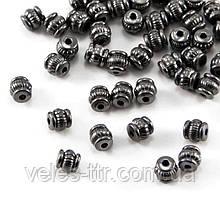 Бусина разделитель металлическая Бочонок черный 5х5 мм