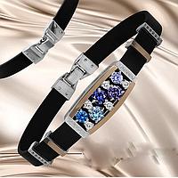 Каучуковый браслет серебро с золотом и цирконами Фабиан