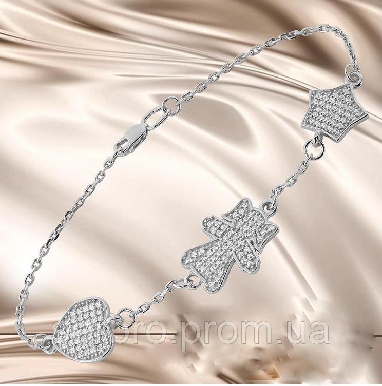 Браслет якорного плетения с подвесками серебро Келли