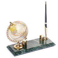 Подставка на стол руководителя BST 540059 24х10 с визитницей глобусом и ручкой мраморная