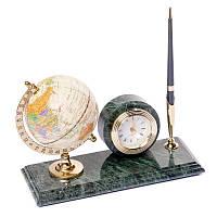 Подставка на стол для ручки BST 540068 24х12 с глобусом и часами мраморная