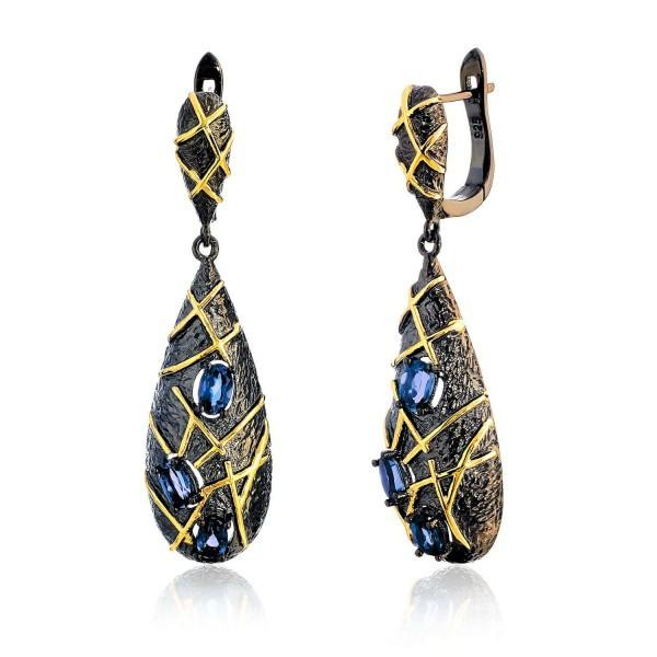 Серебряные серьги с топазом London blue