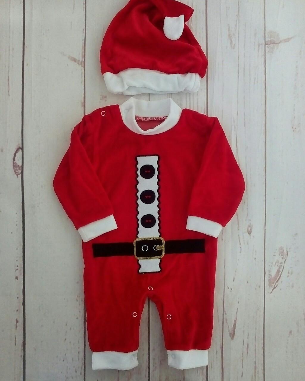 Новогодний детский комбинезон + шапочка из велюра Санта 2
