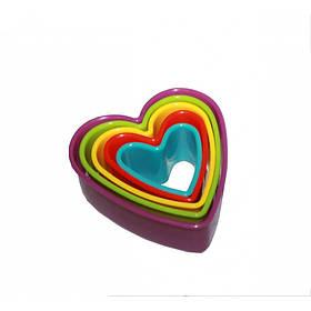 Вырубка для теста и мастики Сердечки 5 шт в наборе