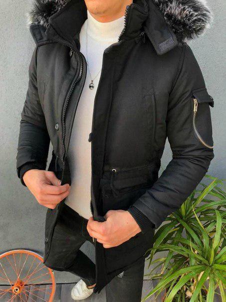Мужская зимняя удлиненная куртка, три цвета