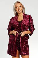 Женская пижама с шортиками,майкой и халатом из велюра
