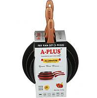 Набор сковородок A-PLUS 3 шт (FP-1741) С мраморным покрытием и индукционным дном
